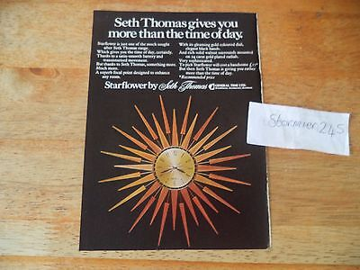 SETH THOMAS STAR FLOWER CLOCK  VINTAGE MAGAZINE AD  1970's