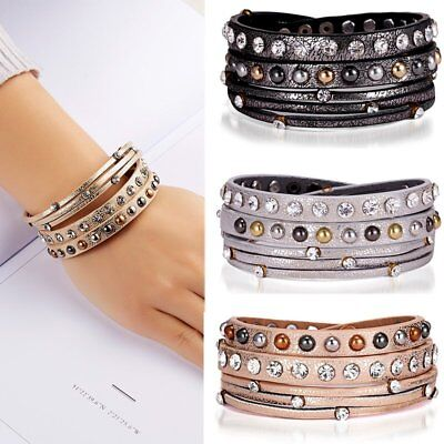 New Trendy Women Multi-layer Leather Crystal Charm Bracelet Bangle Jewelry Gifts