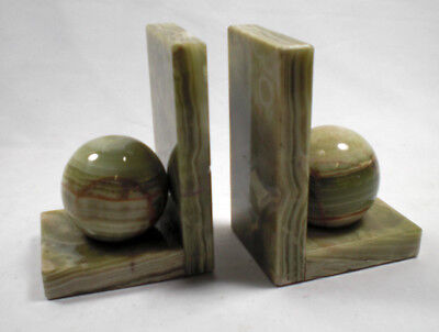 A pair of green onyx book ends, Art Deco c.1925