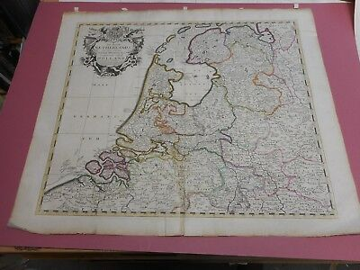 100% Original Large Holland Netherlands  Map By J Sexex C1720 Hand Coloured