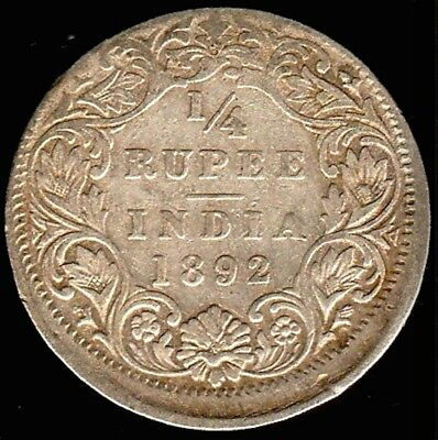 India 1892 Error Off Center Strike 1/4 Quarter Rupee Rare