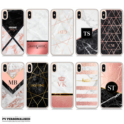PERSONALISED NAME INITIALS ROSE GOLD MARBLE PHONE CASE FOR IPHONE X XR XS Max