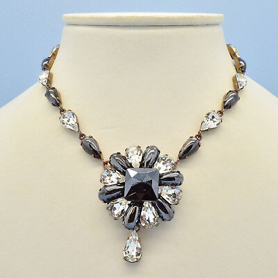 Vintage Necklace 1950s Faux Hematite & Clear Crystal Goldtone Bridal Jewellery