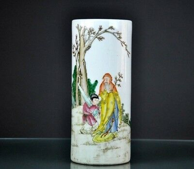 Antique  Chinese Republic Famille Verte Porcelain Vase Marked.