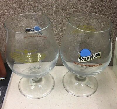 Pale Moon Belgian Style Pale Ale Glass Goblets 500 mL Set of 2 Blue Moon New