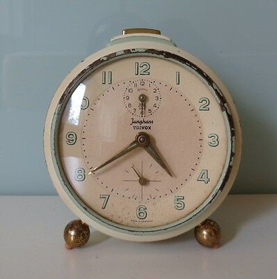 Vintage Junghans Trivox Alarm Clock Mechanical Wind Up Table Desk Mantle Shelf
