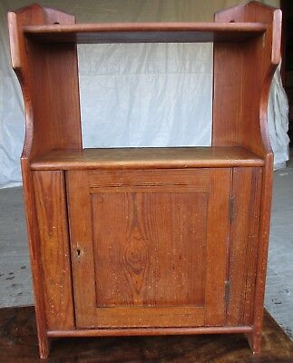 Victorian pitch pine wall hanging cupboard shelves (ref 599)