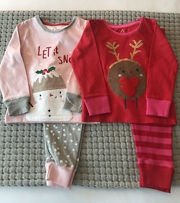 Baby Girls Christmas Mothercare Pyjamas 18 - 24 Months two pairs