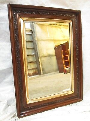 Victorian carved floral mahogany gilt framed bevel glass wall mirror (ref 601)