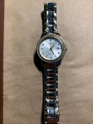 Citizen Eco-Drive FE1174-50A Women's Crystal Accent Two-Tone Watch- BROKEN STEM