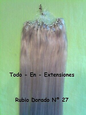 50 Extensiones Micro Ring, Cabello 100 % Natural, Calidad Remy AAA, rubio nº 27
