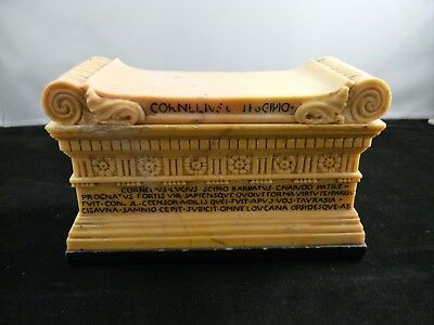 19thC Italian Grand Tour Giallo Antico Marble Sarcophagus of Scipio