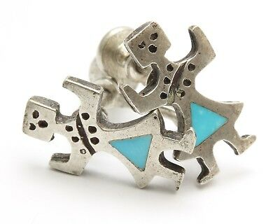 Vintage Navajo Sterling Silver Old Pawn Turquoise Inlay Yei Figural Earrings