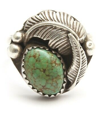 Vintage Navajo Sterling Silver Small Spiderweb Green Turquoise Floral Leaf Ring