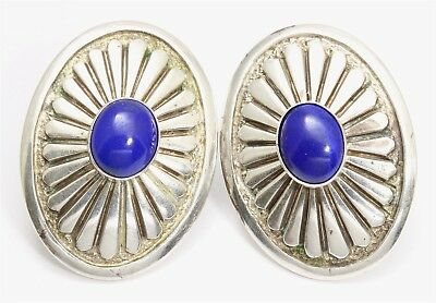 Navajo SIGNED MARIE Sterling Silver Large Stamped Lapis Concho Clip Earrings 30g