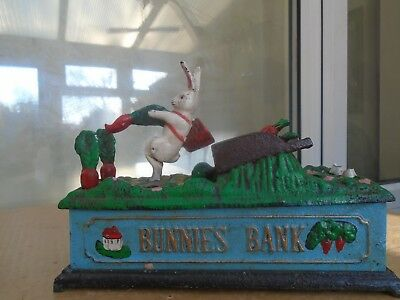 BUNNIES BANK   quirky rare antique cast iron mechanical money box   WOW LOOK
