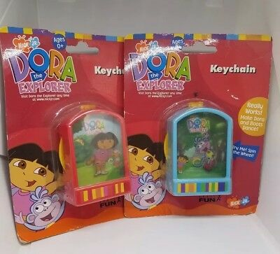 VTG RARE Nick Jr Dora the Explorer DORA & BOOTS Keychain Back Pack Clip NEW 2002