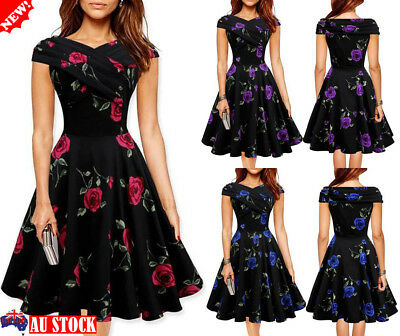Womens Floral Swing Skater Dress Summer Beach Evening Party Vintage Ball Gown AU