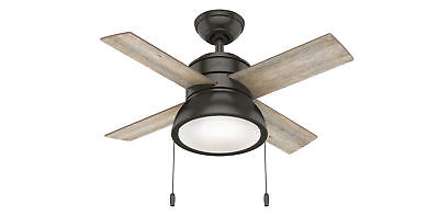Hunter Loki With Led Light 36 Inch Brown Ceiling Fan