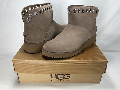 a43b0c07a2e5 Ugg Riley Mini Grommet Suede shearling Wedge Boots