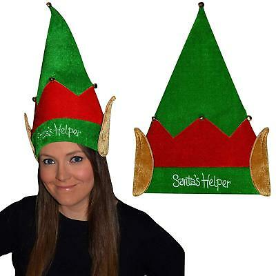 GTL Adult Striped Elf Hat with Ears and Shoes with Bells Christmas uni Accessory