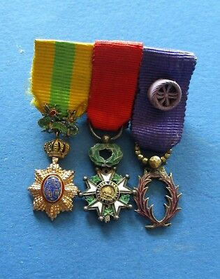 Vintage High Quality French Indochina Miniature Medal (Orders) Set