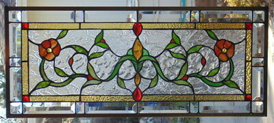 Stained Glass Transom window hanging  30 X 13 POLISHED BRASS Frame