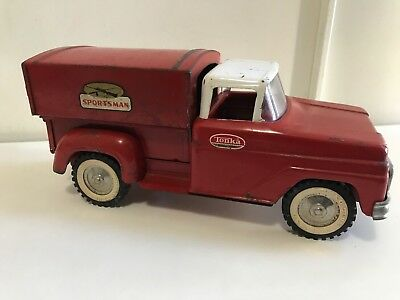 Vintage 1960s Tonka Toys Deluxe Red Sportsman Pick Up Truck w/ Bed Topper