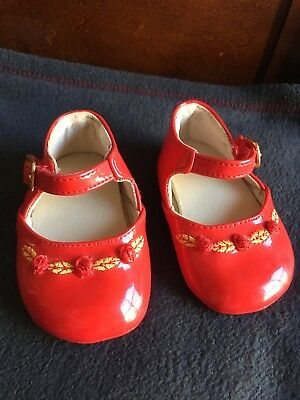 Vintage Red Patent Leather - Mary Jane Gold Buckle Velcro Baby Doll Shoes (2)