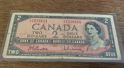 Bank Of Canada 1954 $2 Two Dollar Bill Note Circulated Special Serial K/U - D108