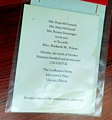 Original 1972 Invitations Tea Mrs Richard Nixon Illinois Republican Party
