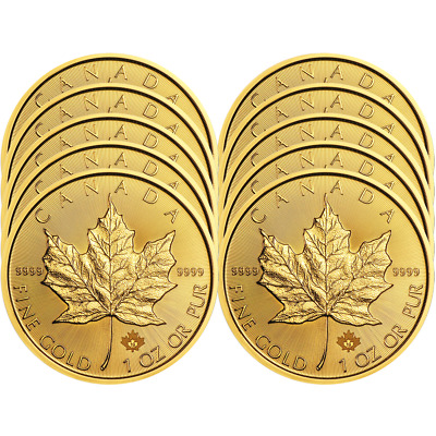Lot of 10 - 2019 $50 Gold Canadian Maple Leaf .9999 1 oz Brilliant Uncirculated