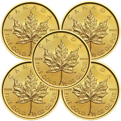 Lot of 5 - 2019 $20 Gold Canadian Maple Leaf .9999 1/2 oz Brilliant Uncirculated