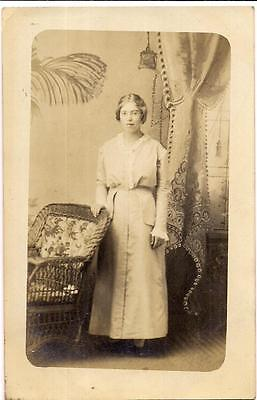 Lovely Young Edwardian Fashion Woman Girl Antique 1910s RPPC Real Photo Postcard