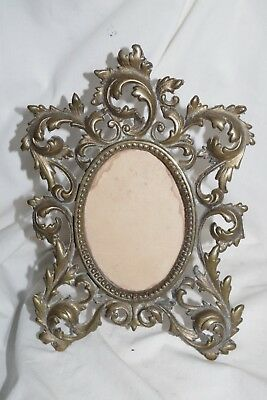 Antique Ornate Victorian Heavy Brass Easel Frame Oval Photo