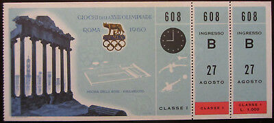 1960 Rome Olympic Games Ticket First Class Swimming & Water-Polo Nuoto