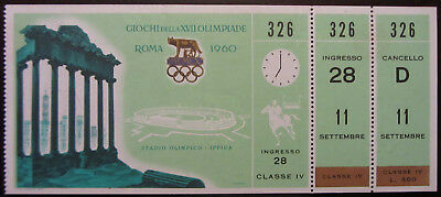 Olympic Games Ticket Roma/rome 1960 Ippica Equestrian Reiten Equestres Rare