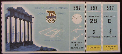 1960 ROME OLYMPIC GAMES TICKET 3rd CLASS SWIMMING & WATER-POLO NUOTO