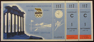 1960 Rome Olympic Games Ticket First Class Rowing Canottaggio Originale