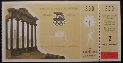 1960 Rome Olympic Games Ticket First Class Fencing Scherma Originale E Completo