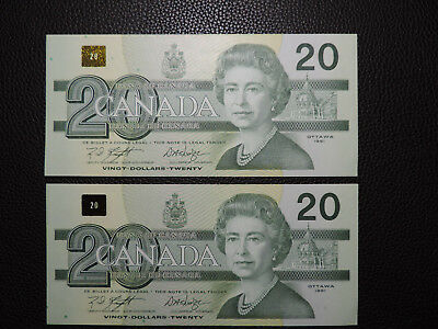 2x 1991 $20 Dollar Bank of Canada Banknote EWM2972945-46 UNC grade (Consecutive)