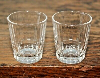 Pair of Vintage Federal Glass Shot Glass Ribbed Design 2 1/8""