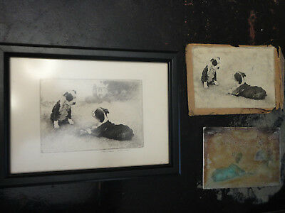 ORIGINAL Plate ARTWORK by MORGAN DENNIS Boston Terrier w/ Framed Etching Signed