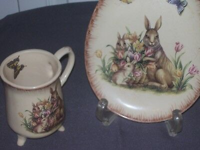Bunny/ Rabbit Mug/Cup with Large Saucer/Plate ******************  Must SEE !