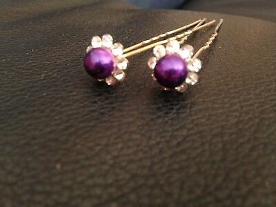HAIR PINS Gorgeous Purple Crystal Glam - suit Wedding or Deb - as New