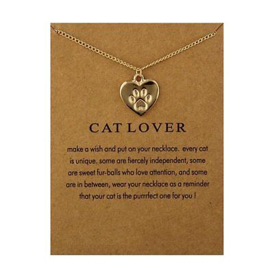Fashion Jewelry Cat Lover Animal Paw Footprint Heart Charm Necklace For Womens