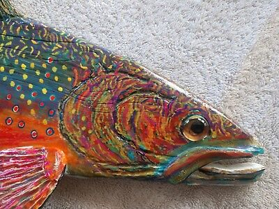 2019,Hand Carved/Painted Brook Trout, (Picture Sample) Please READ DESCRIPTION!!
