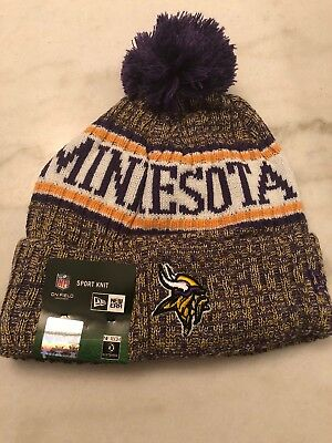 80c293d7b Minnesota Vikings Beanie Cap Hat Nfl Football New Era Cuffed Knit On Field