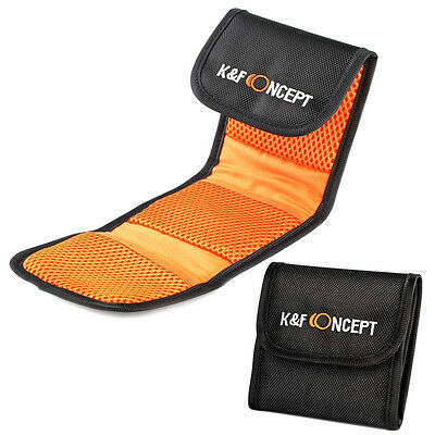 K&F Concept 3 Pockets Slots Lens Filter Pouch Wallet Case for 49 -77mm UV CPL ND