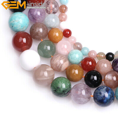 "Natural Gemstone Round Mixed Stone Loose Beads For Jewelry Making Strand 15"" DIY"